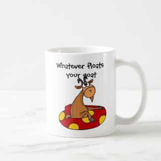 TU- Funny Whatever Floats Your Goat Cartoon Basic White Mug