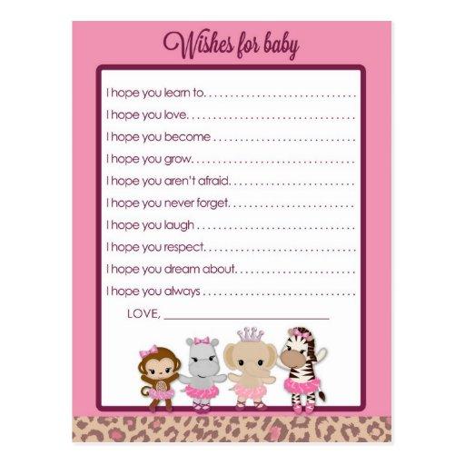 Tu Tu Cute Ballerina Baby Shower Wishes for Baby Post Card
