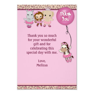 "Tu Tu Cute Thank You 3.5""x5"" MONKEY GIRL TTC(FLAT) Card"
