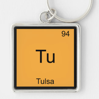 Tu - Tulsa City Chemistry Element Symbol T-Shirt Silver-Colored Square Key Ring