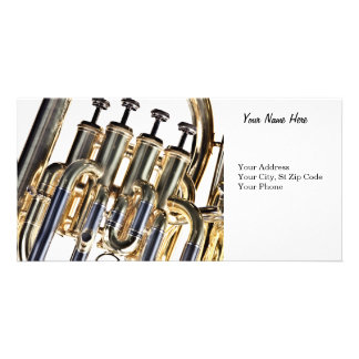 Tuba on White background Custom Photo Card