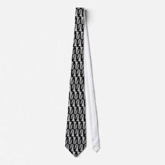 Tuba Pattern Black and White Tie