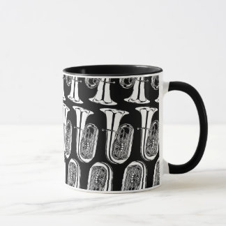Tuba Pattern Ringer Mug - Black and White