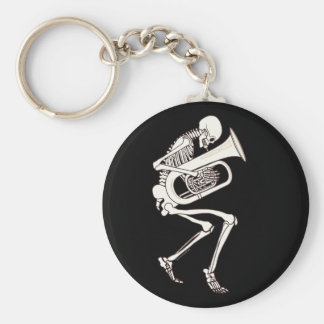 Tuba Playing Skeleton Key Ring