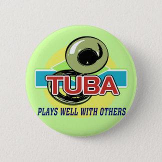 Tuba Plays Well 6 Cm Round Badge