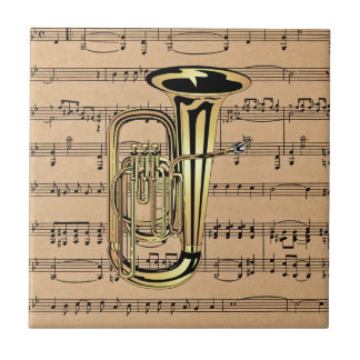 Tuba ~ With Sheet Music Background Tile