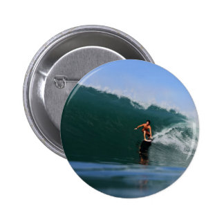 Tube riding green surfing waves 6 cm round badge