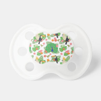 Tucan And Peacock Pattern Baby Pacifiers