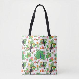 Tucan And Peacock Pattern Tote Bag