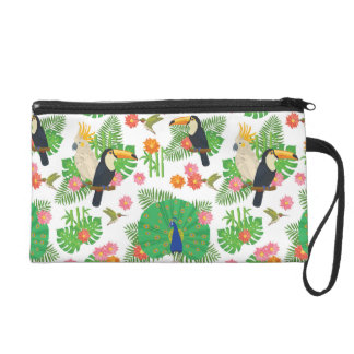 Tucan And Peacock Pattern Wristlet Clutch