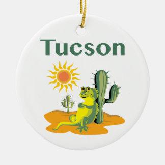 Tucson Arizona Lizard under Saguaro Ceramic Ornament
