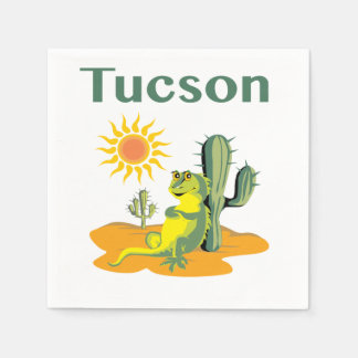 Tucson Arizona Lizard under Saguaro Paper Napkins