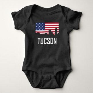 Tucson Arizona Skyline American Flag Baby Bodysuit