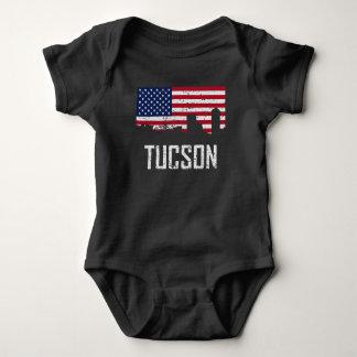 Tucson Arizona Skyline American Flag Distressed Baby Bodysuit