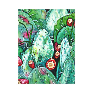 Tucson Prickly Pears Watercolor Print on Canvas