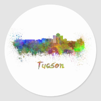 Tucson skyline in watercolor classic round sticker