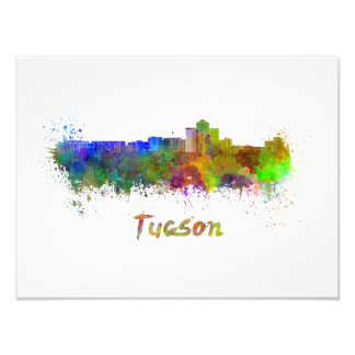 Tucson skyline in watercolor photo print
