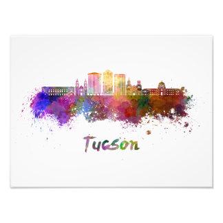 Tucson V2 skyline in watercolor Photo Print