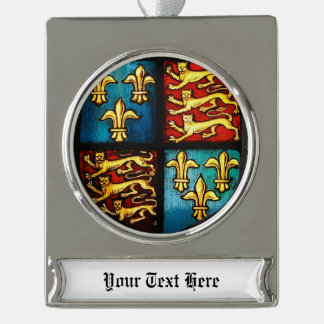 Tudor House Royal Coat of Arms Stained Glass Silver Plated Banner Ornament