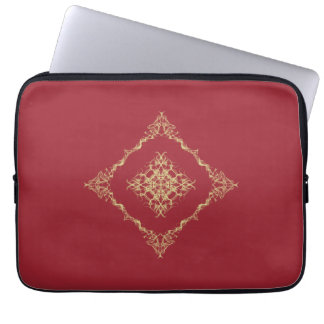 Tudor Inspired Gold and Red Fractal 13 Inch Laptop Sleeve