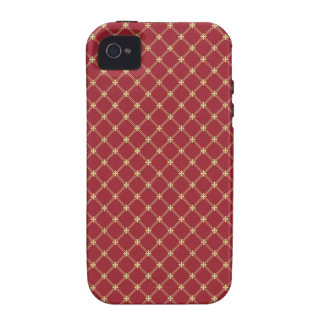 Tudor Red and Gold Criss-Cross Pattern Vibe iPhone 4 Cover