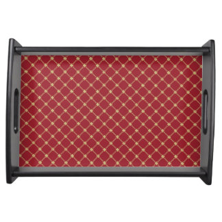 Tudor Red and Gold Criss-Cross Pattern Serving Tray