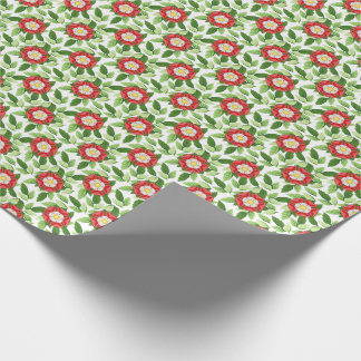 Tudor Rose and Leaves Wrapping Paper