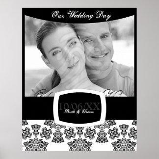Tudor Rose Damask (Black) Wedding Poster