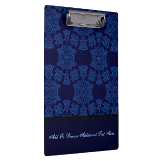 Tudor Rose Damask  (Blue) (Monogram) Clipboard