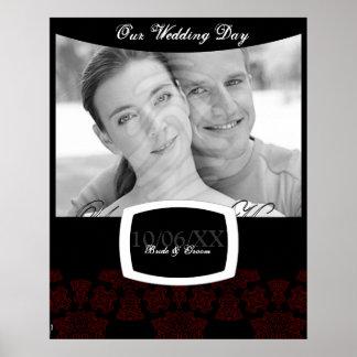 Tudor Rose Damask (Red) Wedding Poster