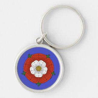 Tudor Rose on Blue Keychain