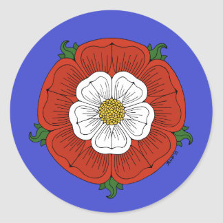 Tudor Rose on Blue Stickers