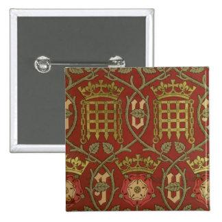 'Tudor Rose', reproduction wallpaper designed by S 15 Cm Square Badge