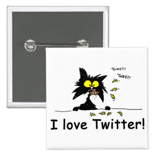 Tuff Kitty loves Twitter 15 Cm Square Badge