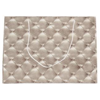 Tufted Leather Ivory Pearly Metallic Glam Luxury Large Gift Bag