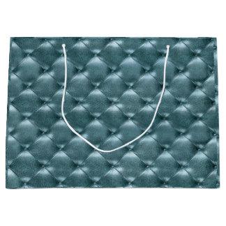 Tufted Leather Metallic Tiffany Aquatic Blue Large Gift Bag