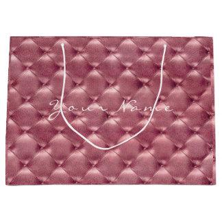 Tufted Leather Rose Gold Blush Metallic Gift Large Gift Bag