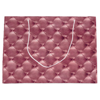 Tufted Leather Rose Gold Blush Metallic Gift Luxur Large Gift Bag