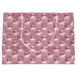 Tufted Leather Rose Pink Blush Metallic Gift Luxur Large Gift Bag