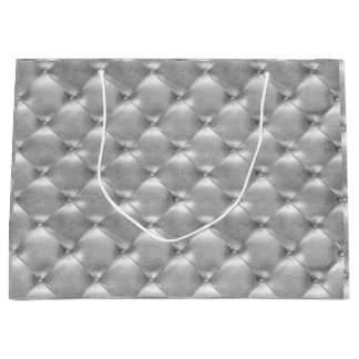 Tufted Leather Silver Gray Metallic Glam Luxur Large Gift Bag