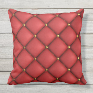 Tufted Red And Gold Outdoor Cushion