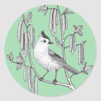 tufted titmouse bird in willow tree green stickers