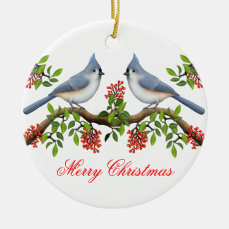 Tufted Titmouse Couple Holiday Ornament