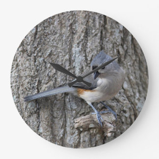 Tufted titmouse large clock