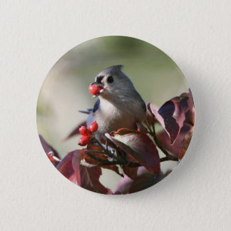 tufted titmouse with berry 6 cm round badge