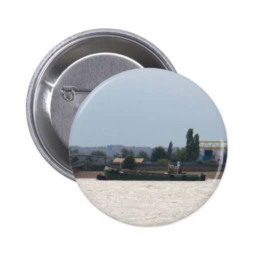 Tug and Dredger Lady Kitty. Pinback Button