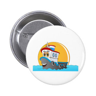 Tug Boat Cartoon Buttons