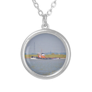 Tug Boat GPS Iberia Silver Plated Necklace