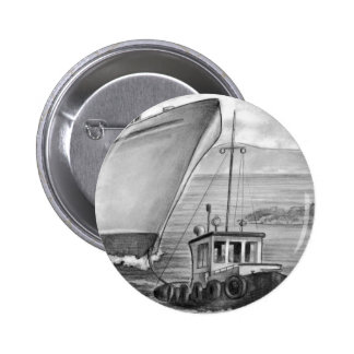 Tug Boat Towing Cruise Ship Button