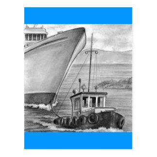 Tug Boat Towing Cruise Ship Postcard